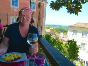 enjoying a Vinho Verde in the Painters Garden, Sintra
