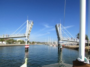 Entering Lagos Marina through lifting bridge