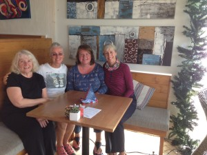 coffee klatch - Carolyn, Pam, Gail, Jackie
