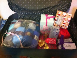 Some of our Christmas presents and the bag of wool