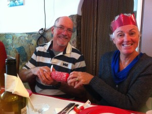 Roger & Pam pulling Crackers on Christmas Day