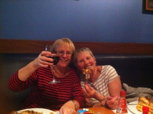 Barbs and Mum enjoying a drink and dinner out