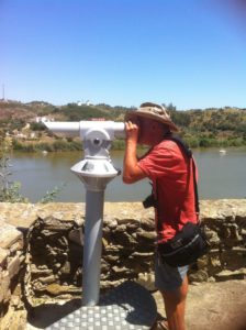 Neil spying up river on top of Alcoutim Castle