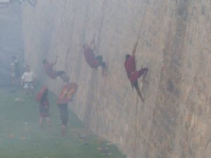 Scaling the wall in the battle (photo Pat Pride)