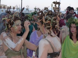 Medusa's being made up - notice the eyes (photo Pat Pride)