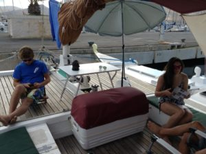 Jake and Lucie onboard Gleda