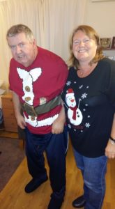 Me and Dad in Christmas tees